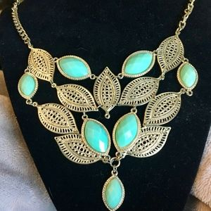 Jewelry - Gold and Turquoise Leaf Statement Necklace